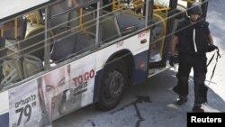Последствия взрыва. Тель-Авив, Израиль. 21 ноября 2012 года.