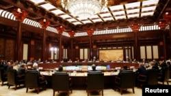 """""""一带一路""""国际合作高峰论坛领导人圆桌峰会在北京雁栖湖国际会议中心举行(2017年5月15日)"""