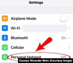 iPhone Settings Hotspot