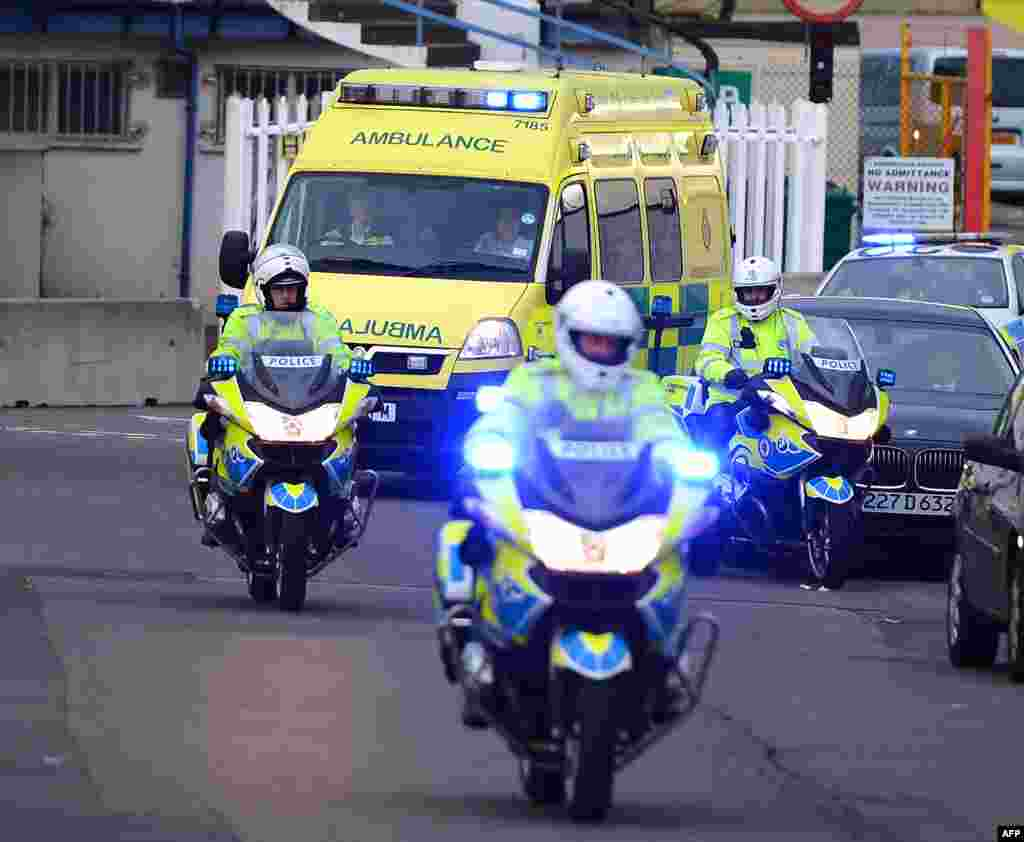 An ambulance transfers Malala Yousafzai upon her arrival in Birmingham, central England on October 15, 2012.