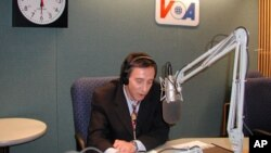 Ferdinand Ferella conducting an interview from a VOA studio, (File).