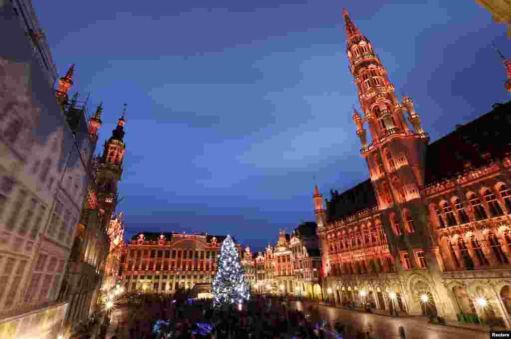 ការបញ្ចាំងភ្លើងលើដើម Christmas នៅក្នុងបរិវេន Grand Place ក្នុងអំឡុងពេលនៃការបង្ហាញភ្លើងពណ៌ សម្រាប់កម្មវិធីនារដូវត្រជាក់ «Winter Wonders» ក្នុងនោះរួមមាន ផ្សារ Christmas និងកម្មវិធីសម្តែងផ្សេងៗទៀត នៅកណ្តាលទីក្រុងព្រុចសែល ប្រទេសបែលហ្ស៊ិក។