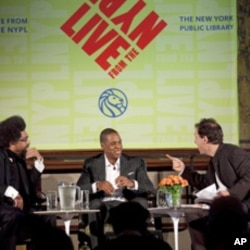Rapper JAY-Z at the New York Public Library with Cornel West (left) and lecture series director, Paul Holdengräber.