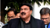 Pakistani Interior Minister Sheikh Rashid Ahmed talking to the media in Islamabad after his visit to NACTA headquarters, Dec. 21, 2020. (Courtesy: Information Ministry)