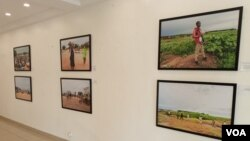A section of the Thought Pyramid Art Center in Abuja shows pictures of civilians affected by the Boko Haram insurgency, September 21, 2021. (Timothy Obiezu/VOA)