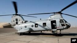 Helikopter Sea Knight CH-46 milik Pasukan Marinir AS (Foto: dok). Pusat Penelitian Langley NASA di Hampton, Virginia, akan menggunakan helikopter jenis ini untuk diuji coba hari ini, Rabu (1/10).