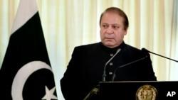 Primer ministro de Pakistán, Nawaz Sharif, habla durante una conferencia de prensa en Islamad, capital de Pakistán.