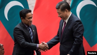 Image result for Maldives' President Abdulla Yameen and China's President Xi Jinping, pictures