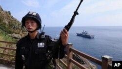 지난 10일 독도에서 경계 근무 중인 한국 해양 경찰.