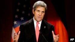 FILE - US Secretary of State John Kerry delivers a speech in Berlin, Germany, Dec. 5, 2016.