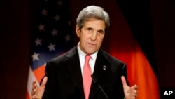 FILE - US Secretary of State John Kerry delivers a speech in Berlin, Germany, Dec. 5, 2016.