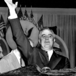 President Franklin Roosevelt accepts his renomination at the Democratic National Convention in Philadelphia on June 23, 1936