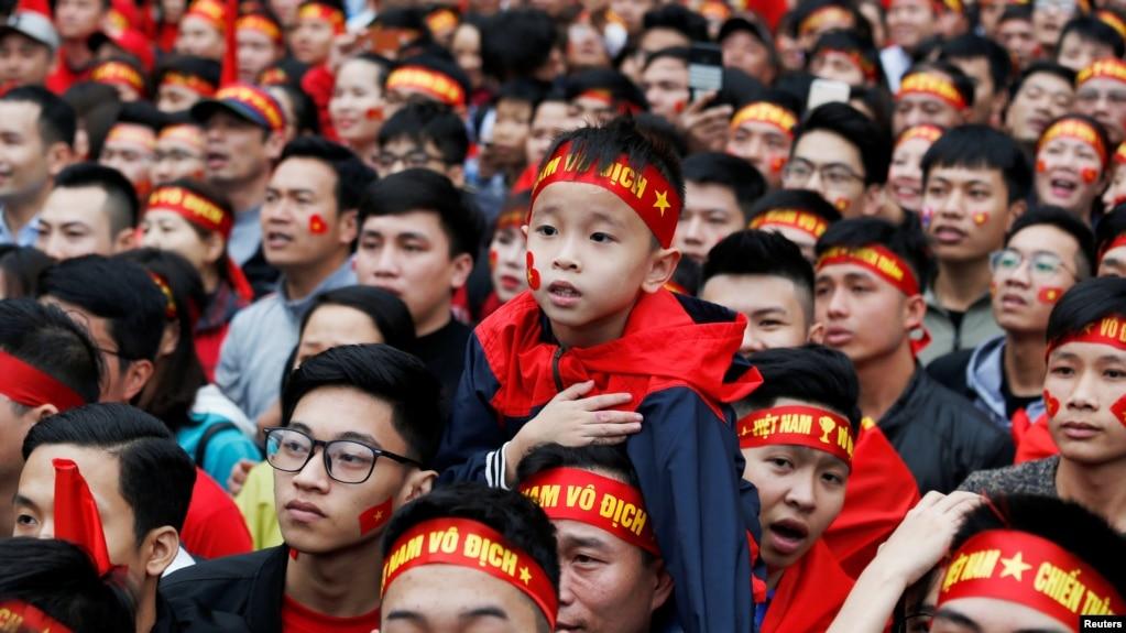 Fans Việt Nam tại giải AFC U23 trận chung kết gặp Uzbekistan, Hà Nội, 27 tháng Giêng, 2018.