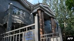 立陶宛駐北京大使館的大門(2021年8月10日)