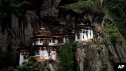 Bhutan's Taktsang Monastery, popularly known as the Tiger's Nest, is built into hillside near Paro , August 21, 2011.