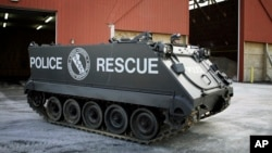 FILE - A police armored personnel carrier is seen during a demonstration for the press in Richboro, Pa., Jan. 23, 2007.