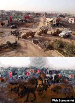تصویر ویرانههای شهر «نوسایبین» و پرچمهای ترکیه، بعد از عملیات نظامی، و نقاشی زهرا دوگان The Voice Project