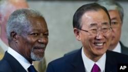 스위스 제네바 유엔본부에서 시리아문제를 논의하기에 앞서 코피 아난 유엔·아랍연맹 특사와 회동중인 반기문(우측) 유엔사무총장
