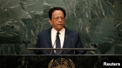 FILE - Prime Minister Anerood Jugnauth of Mauritius addresses the 71st United Nations General Assembly in New York, Sept. 23, 2016.