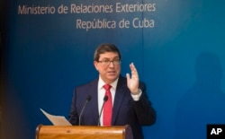 Cuba's Foreign Affairs Minister Bruno Rodriguez gives a press conference in Havana, Cuba, Oct. 3, 2017.