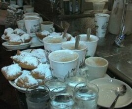 Cafe Du Monde's famous cafe au lait and beignets