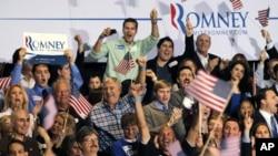 羅姆尼在佛羅里達州的支持者獲知點票結果時歡呼喝彩