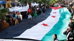 Une manifestation des Syriens dans la ville de Casablanca, au Maroc, le 26 février 2012.