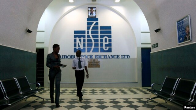 Investors walk out of the Nairobi Stock Exchange in Kenya's capital Nairobi, Mar. 4, 2010.