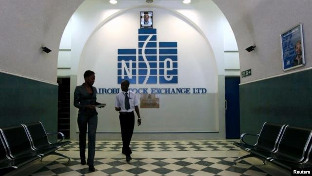 Investors walk out of the Nairobi Stock Exchange in Kenya's capital Nairobi, Mar. 4, 2010.