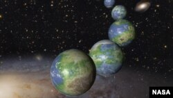 This is an artist's impression of innumerable Earth-like planets that have yet to be born over the next trillion years in the evolving universe.