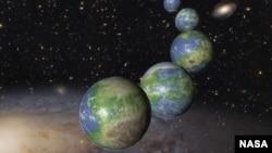 Gambar ilustrasi planet-planet seperti Bumi yang belum lahir dalam triliunan tahun mendatang di alam semesta yang berevolusi.