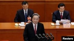 Du Chính Thanh, chủ tịch Hội nghị Hiệp thương Chính trị Nhân dân Trung Quốc (CPPCC), phát biểu trong phiên khai mạc tại Đại lễ đường Nhân dân ở Bắc Kinh, Trung Quốc, ngày 3 tháng 3, 2018.