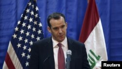 FILE - US envoy Brett McGurk during a news conference at the U.S. Embassy in Baghdad, Iraq, March 5, 2016.
