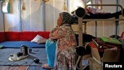 Walaa, réfugiée syrienne au camp de Souda, sur l'île de Chios, en Grèce, le 7 septembre 2016.