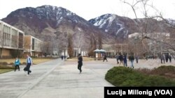 Mountains surround the campus of Brigham Young University in Provo, Utah.