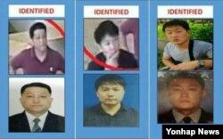 말레이시아 경찰이 지난 22일 쿠알라룸푸르에서 열린 기자회견에서 김정은 북한 노동당 위원장의 이복형 김정남 암살사건의 용의자로 추가 발표한 3명. 왼쪽부터 북한대사관 2등 서기관 현광성, 고려항공 직원 김욱일, 북한 국적자 리지우.