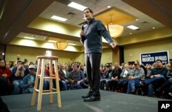 Republican presidential candidate Sen. Marco Rubio of Florida speaks during a town hall in West Des Moines, Iowa, Jan. 26, 2016.