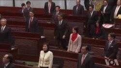 香港特首梁振英在立法会做施政报告