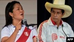 En la foto el candidato presidencial peruano, el socialista Pedro Castillo, durante el último debate con su oponente, la candidata de derecha Keiko Fujimori.