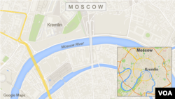 Map of Moscow showing the bridge over the Moscow River near the Kremlin