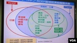 台湾立法院质询时所展示的区域经济图(美国之音张永泰拍摄)