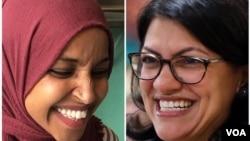 Ilhan Omar (kiri) dan Rashida Tlaib, dua perempuan muslim yang memenangkan kursi DPR AS pada pemilu Selasa (6/11).