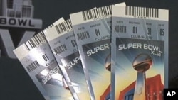 Super Bowl tickets on sale in Indianapolis, Indiana, February 3, 2012.