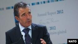 2013'ün ilk basın toplantısını yapan NATO Genel Sekreteri Anders Fogh Rasmussen, 2012'yle ilgili yıllık raporu Brüksel'de açıkladı.