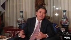 台湾驻美代表金溥聪记者会 (美国之音钟辰芳拍摄)