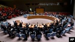 지난 3월 미국 뉴욕의 유엔본부에서 열린 안보리 전체회의에서 대북 제재 관련 결의안을 표결하고 있다. (자료사진)