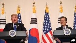 Serok Amerîka Donald Trump û Serokê Koreya Başûr Moon Jae-in