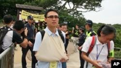 扮成伤员的人士参与香港举行的核事故疏散演习