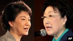28일 서울에서 열린 '핵안보정상회의 기념 국제학술회의'에서 연설한 박근혜 새누리당 비상대책위원장(왼쪽)과 한명숙 민주통합당 대표.