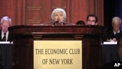 Gubernur Federal Reserve Janet Yellen memberikan AS pidato utama pertamanya tentang kebijakan bank sentral di New York Rabu (16/4).